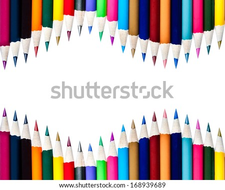 Rows of Color Pencils Background - stock photo