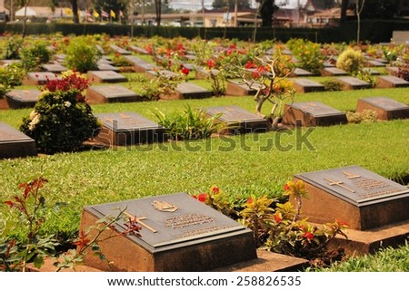 Rows of Confederate Veterans tombstones during World War 2 in Kanchanaburi province, Thailand - stock photo