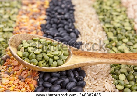Rows of dry beans and lentils. - stock photo