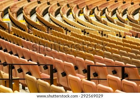 Rows of empty seats - stock photo