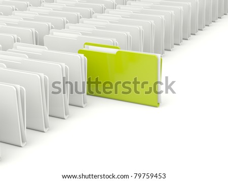 Rows of folders with different green folder - stock photo