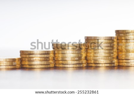 rows of gold stack coins - stock photo