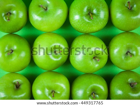 rows of green apples - stock photo