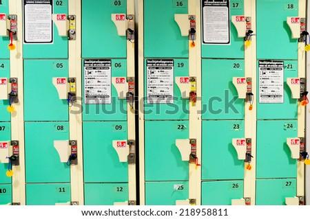 Rows of Lockers - stock photo