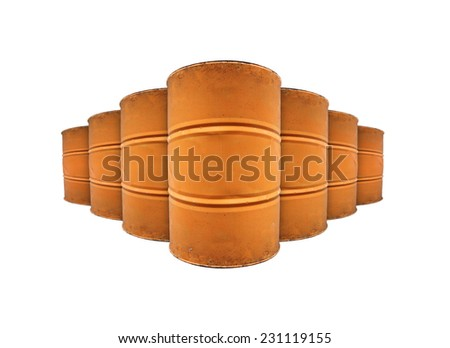Rows of metal oil drums with blank space for text, isolated against white.   - stock photo