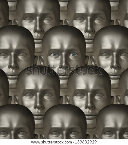 Rows of metallic robot androids, one with human eyes - stock photo