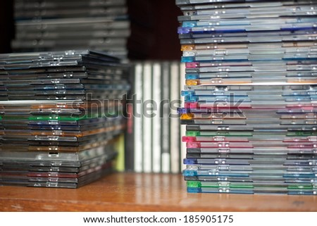 Rows of music cds on the shelf  - stock photo