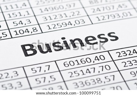 Rows of numbers and word business. Focus in center - stock photo