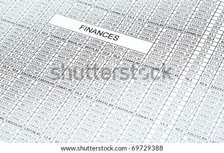 Rows of numbers. Focus in center (on word finances) - stock photo