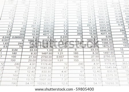 Rows of numbers. Some numbers are selected markers. Focus in center - stock photo