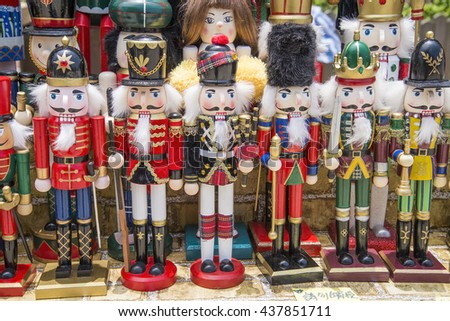 Rows of nutcrackers - stock photo