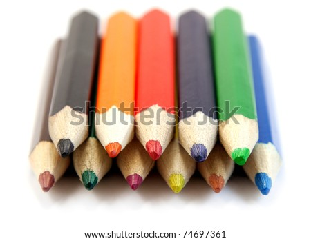 rows of pencils - stock photo
