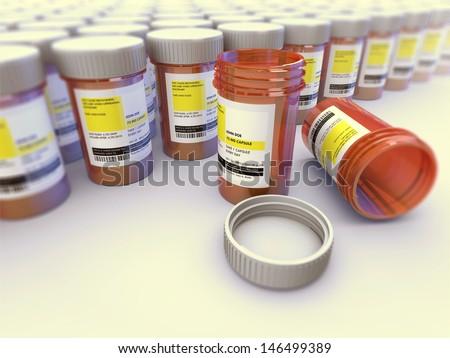 Rows of prescription pill bottles. - stock photo
