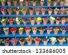 Rows of Primula in Flower Pots - stock photo