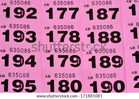 Rows of raffle tickets - stock photo