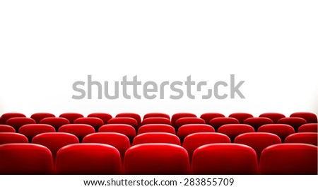 Rows of red cinema or theater seats in front of white blank screen with sample text space.  - stock photo