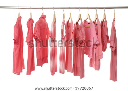 Rows of red t shirts on a clothesline. - stock photo