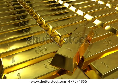rows of rendered shiny polished gold bars, 3d rendering