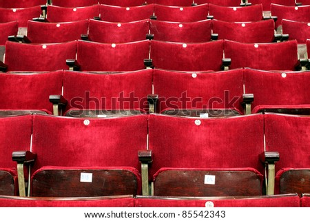 Rows of Rich and Comfortable Theater Chairs - stock photo