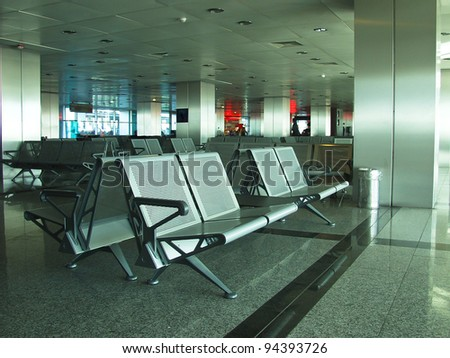 Rows of seats in airport lounge