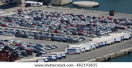 Rows of similar cars in a port facility, Barcelona, Spain, July 2016