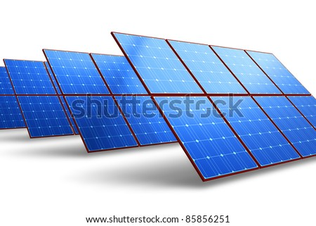 Rows of solar battery panels isolated on white background - stock photo