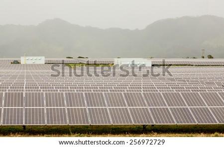 Rows of solar panels in power station array on a misty and cloudy day near Koloa, Kauai, Hawaii - stock photo