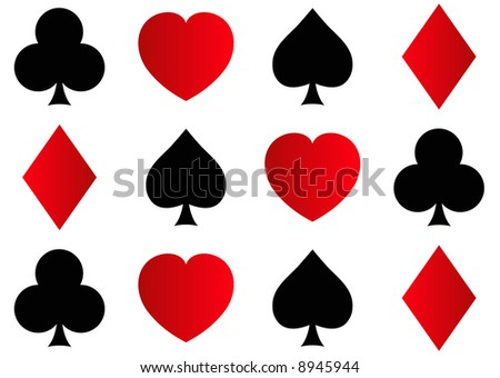 rows of spades, clubs, hearts and diamonds shapes - stock photo
