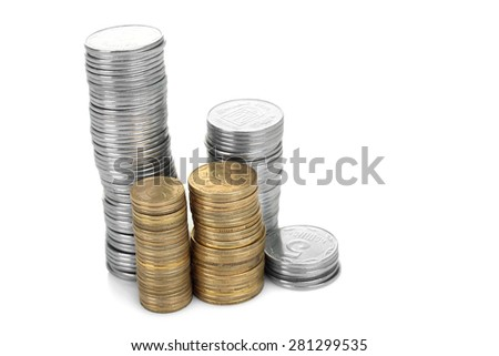 rows of stack coins isolated