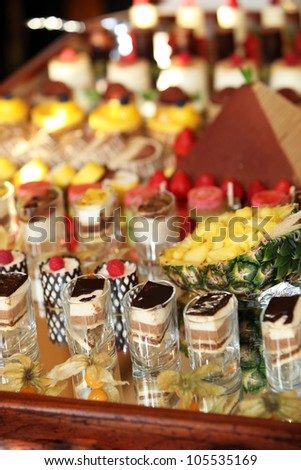 rows of tasty looking desserts in beautiful arrangements