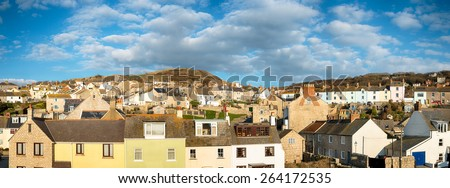 Rows of terraced cottages at Chiswell on the Isle of Portland a small island joined by a causeway to Weymouth in Dorset - stock photo