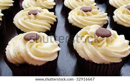 Rows of vanilla and chocolate cup cakes - stock photo