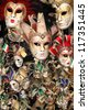 Rows of venetian carnival masks - stock photo
