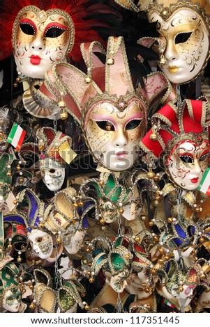Rows of venetian carnival masks - stock photo
