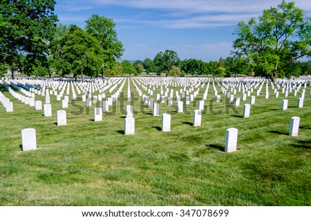Rows of white grave stones at the Arlington National Cemetery, Virginia, USA