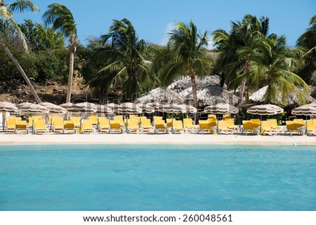 Rows of yellow colored loungers on the beach of Pinel Island, St. Martin - stock photo