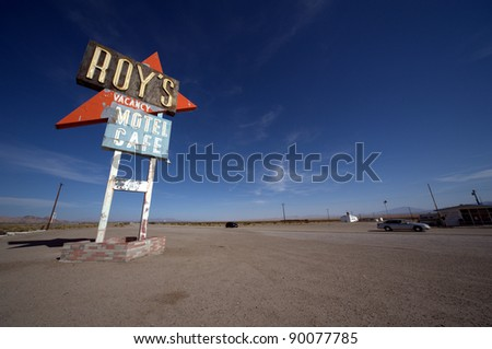 Roy's sign on route 66 - stock photo
