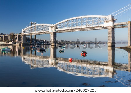 Royal Albert Bridge designed by Isambard Kingdom Brunel as seen from Saltash Passage Plymouth Devon England UK Europe - stock photo