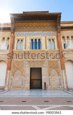 Royal Alcazar of Sevilla. Main entrance of mudejar palace - stock photo