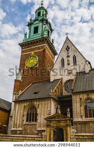 Royal Archcathedral Basilica of Saints Stanislaus and Wenceslaus on the Wawel Hill - stock photo