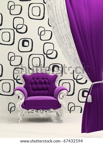 Royal armchair with curtain isolated on ornament wallpaper - stock photo