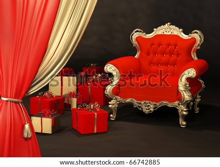 Royal armchair with gift wrapping in luxury interior
