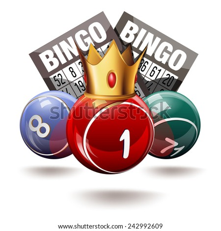 Royal bingo or lottery balls and cards - stock photo