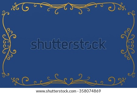 royal blue background with metallic gold border design of fancy curls and flourishes in Victorian pattern, ornate lines and design elements with blank center copyspace - stock photo