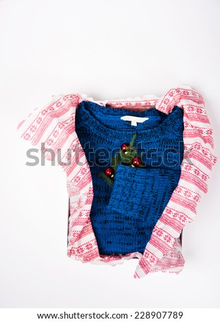 Royal Blue Sweater with Christmas Ornaments on White Background - stock photo
