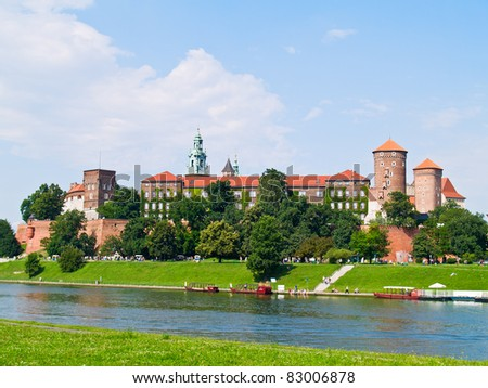 Royal castle in Wawel, Warsaw - stock photo