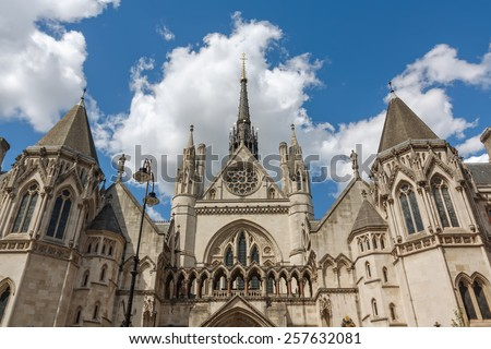 Royal Courts of Justice in the Victorian Gothic style in London, UK ...