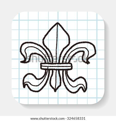 royal crest doodle - stock photo