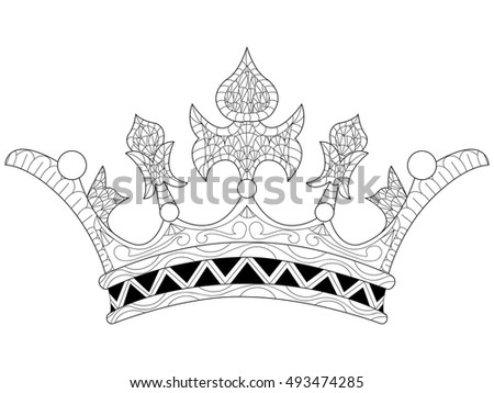 Royal crown inlaid jewels with in cartoon style for historical concept and heraldry design. Zentangle style. Black and white lines. Lace pattern coloring book