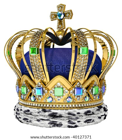 Royal crown with jewellery decoration - stock photo